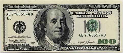 The American One Hundred Dollar Bill.