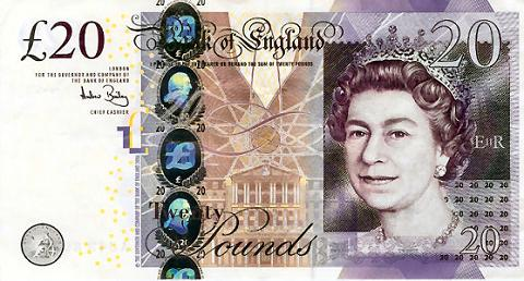 An English Twenty Pound Note.