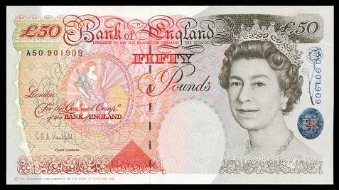The English Fifty Pound Note.
